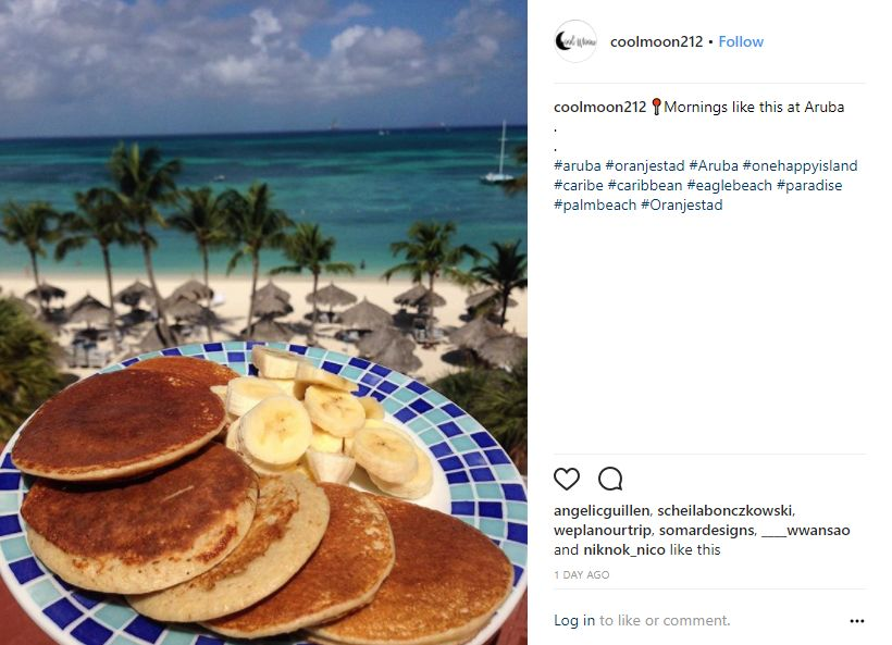 Instagram-User-Photo-at-coolmoon212-island-life-Aruba-You-Should-be-Here-location-tag-pancakes-breakfast-by-the-beach-oceanview-balcony-vacation-mode