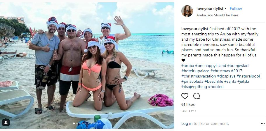 Instagram-User-Photo-at-loveyourstylist-celebration-destination-Aruba-You-Should-be-Here-location-tag-christmas-beach-santa-hats-family-trip