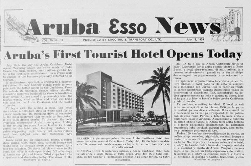 newspaper-clipping-aruba-esso-news-first-tourist-hotel-opens-etnia-nativa-visitaruba