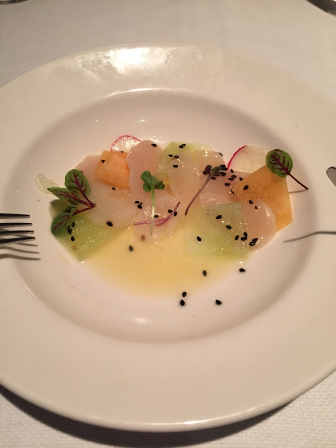 Giant Scallops and melon with yuzu and herbs