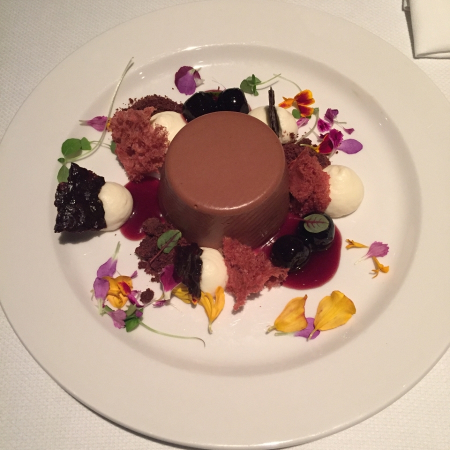 Black Forest Fantasy - chocolate mousse, cherries and flower petal garnish