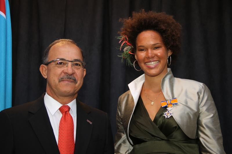 Sarah-Quita, Aruba's Windsurfing Champion, received Royal Medal