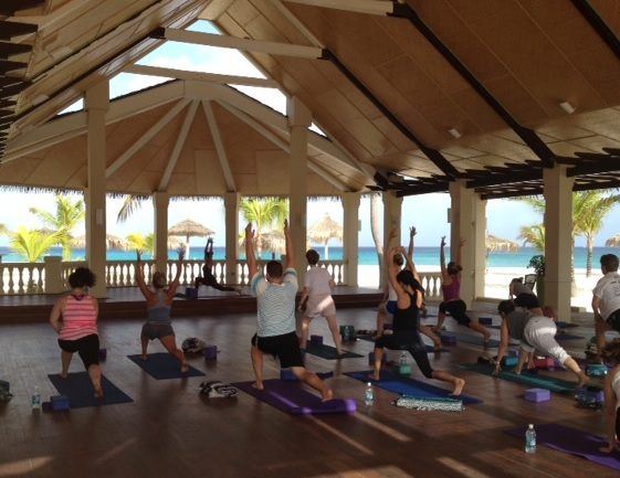 Top Market Journalists visiting Aruba's Manchebo Beach Resort & Spa for Yoga and breakfast
