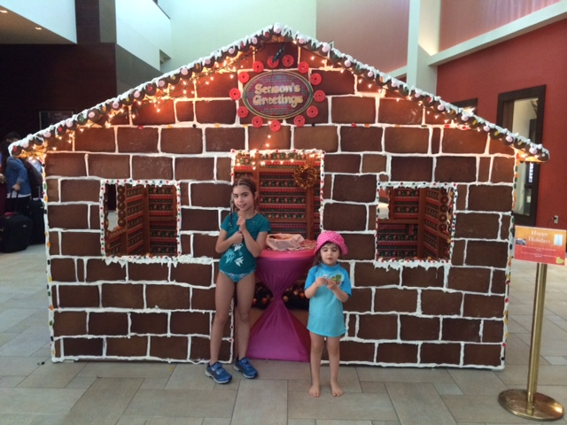 Aruba Marriott Resort exhibits life-size gingerbread house in the resort lobby