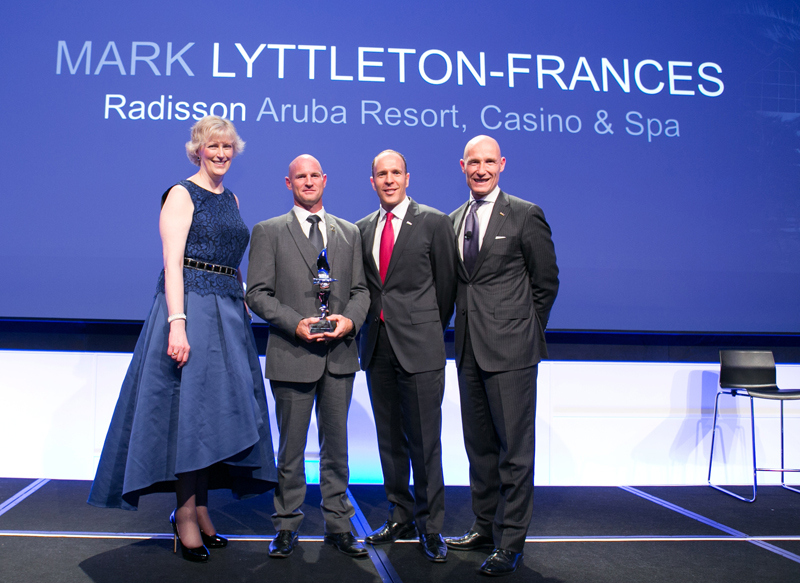 Mark Frances, General Manager of the Radisson Aruba Resort Casino & Spa, receives prestigious Manager of the Year award
