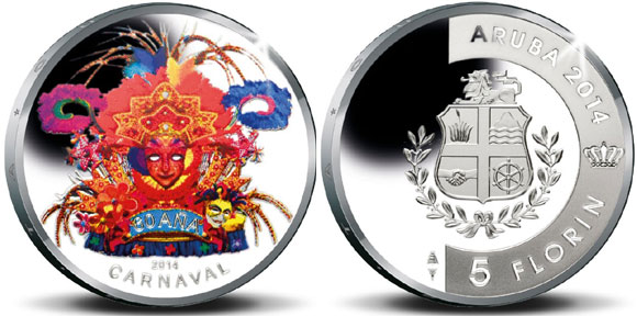 New coin by the Central Bank of Aruba dedicated to Aruba's 60th Carnival anniversary