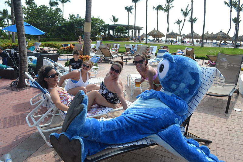 Bonbi, Aruba's official mascot, delights young and old during a visit at the Aruba Marriott Resort & Stellaris Casino