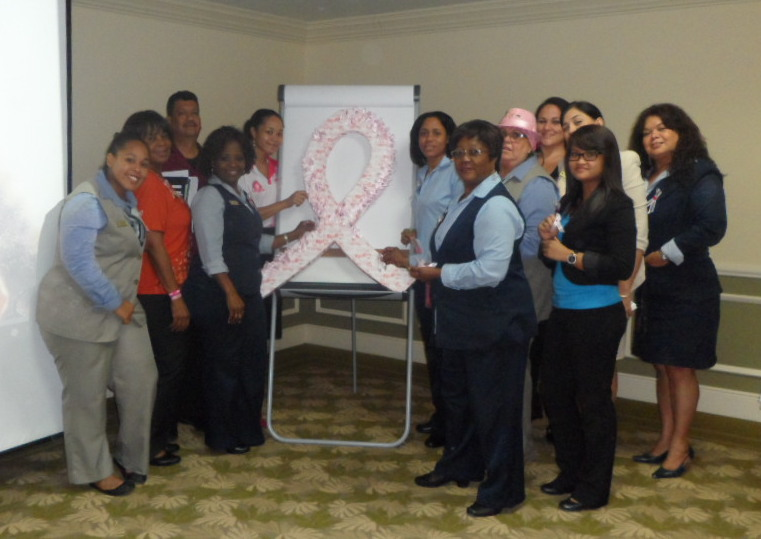 Aruba La Cabana Beach Resort & Casino receive a presentation on Breast Cancer Awareness