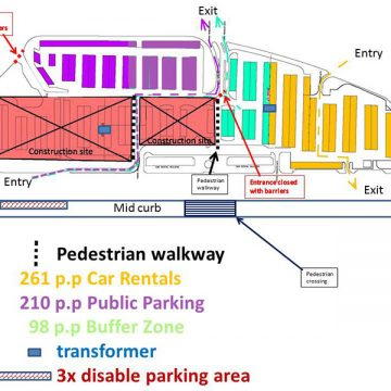 Changes in the public parking lot at the Aruba Aeropuerto Internacional Reina Beatrix as the development for the Solar Car Park proceeds
