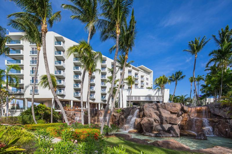 Palm-trees-and-pool-view-with-rocky-waterfall-at-the-hilton-aruba-caribbean-resort-and-casino