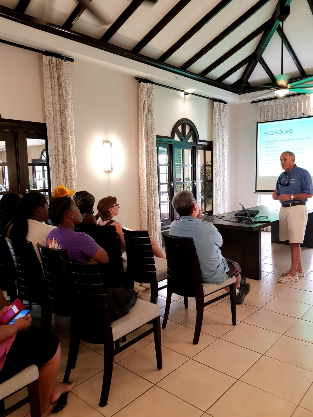 Professors and students of Mercer University in Georgia, U.S., learn sustainability best practices within the business setting from Ewald Biemans, owner/CEO of Bucuti & Tara Beach Resort and noted environmentalist