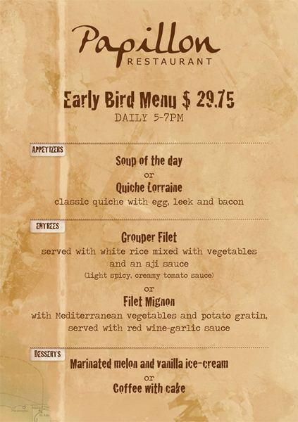 Early Bird 3 course menu