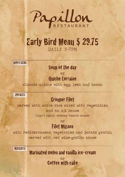 Early Bird 3 course menu