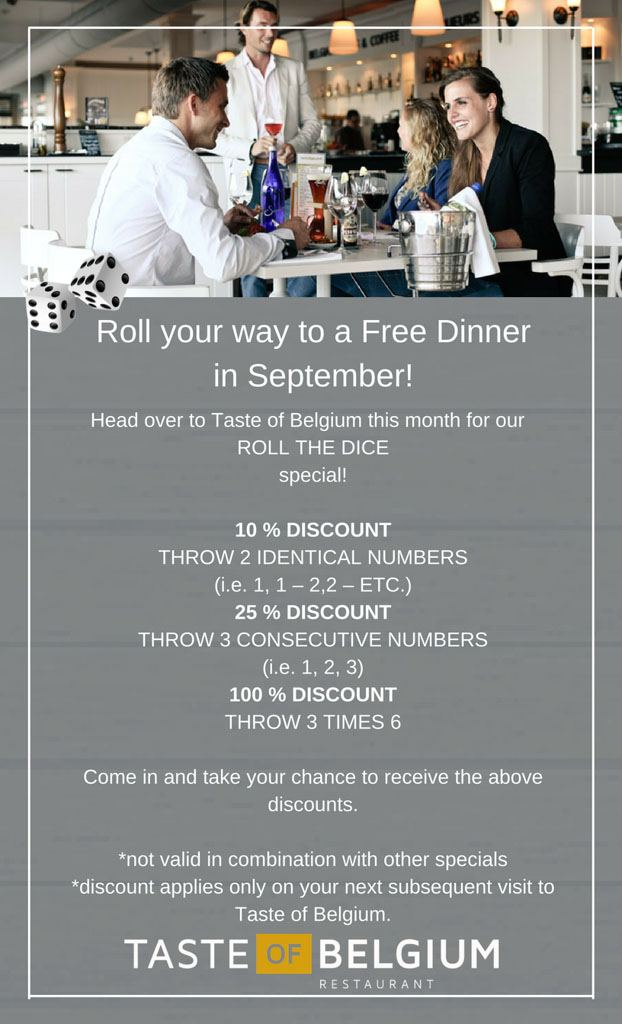 Roll your way to a Free Dinner in September!