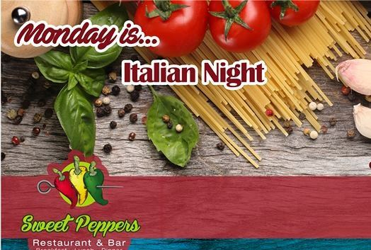 Italian Night every Monday at Sweet Peppers