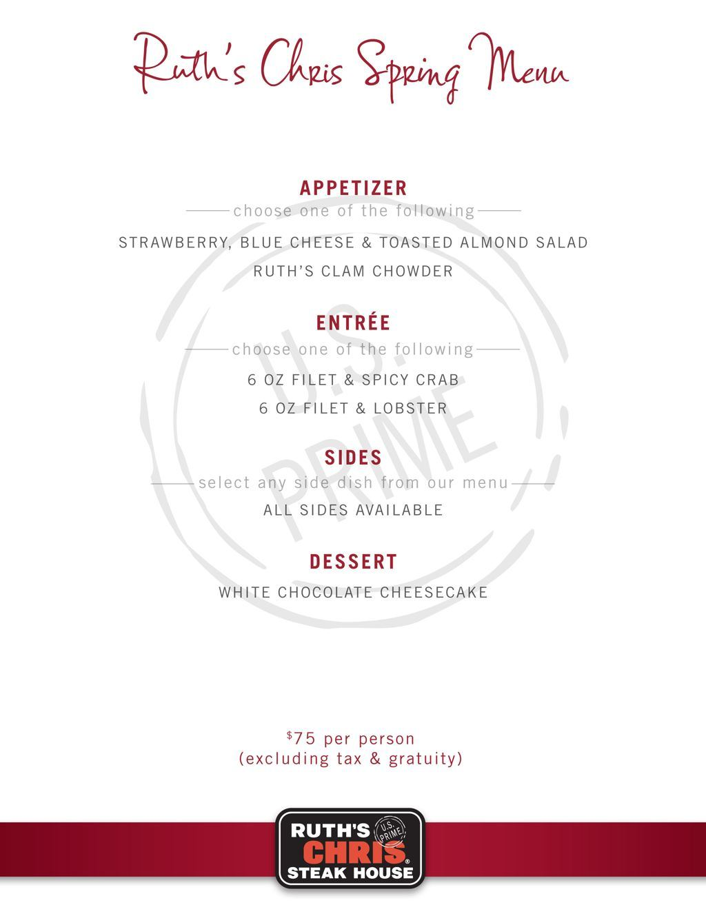 Ruth's Chris Spring Menu