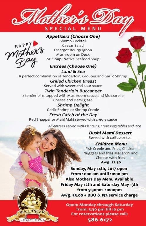 Buccaneer Mother's Day Special Menu