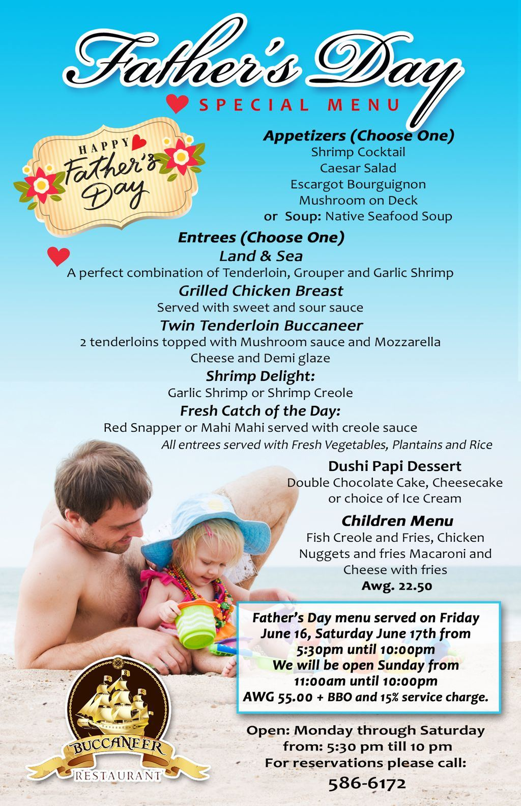 Buccaneer Father's Day Menu