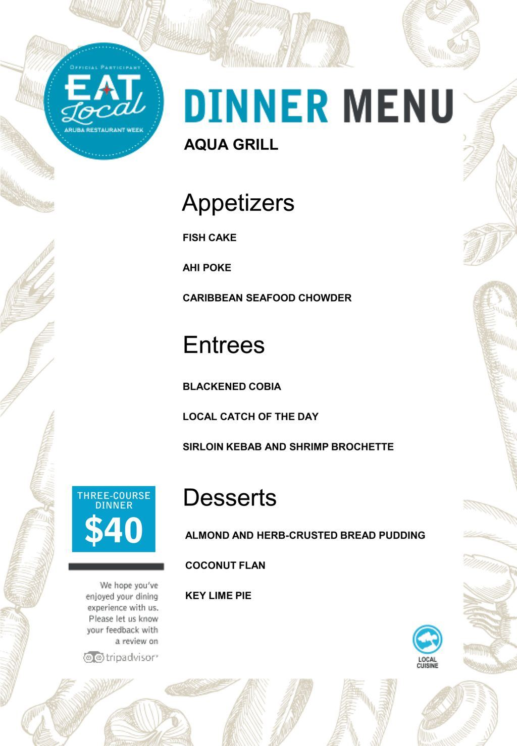 Aqua Grill Restaurant - Eat Local 2017