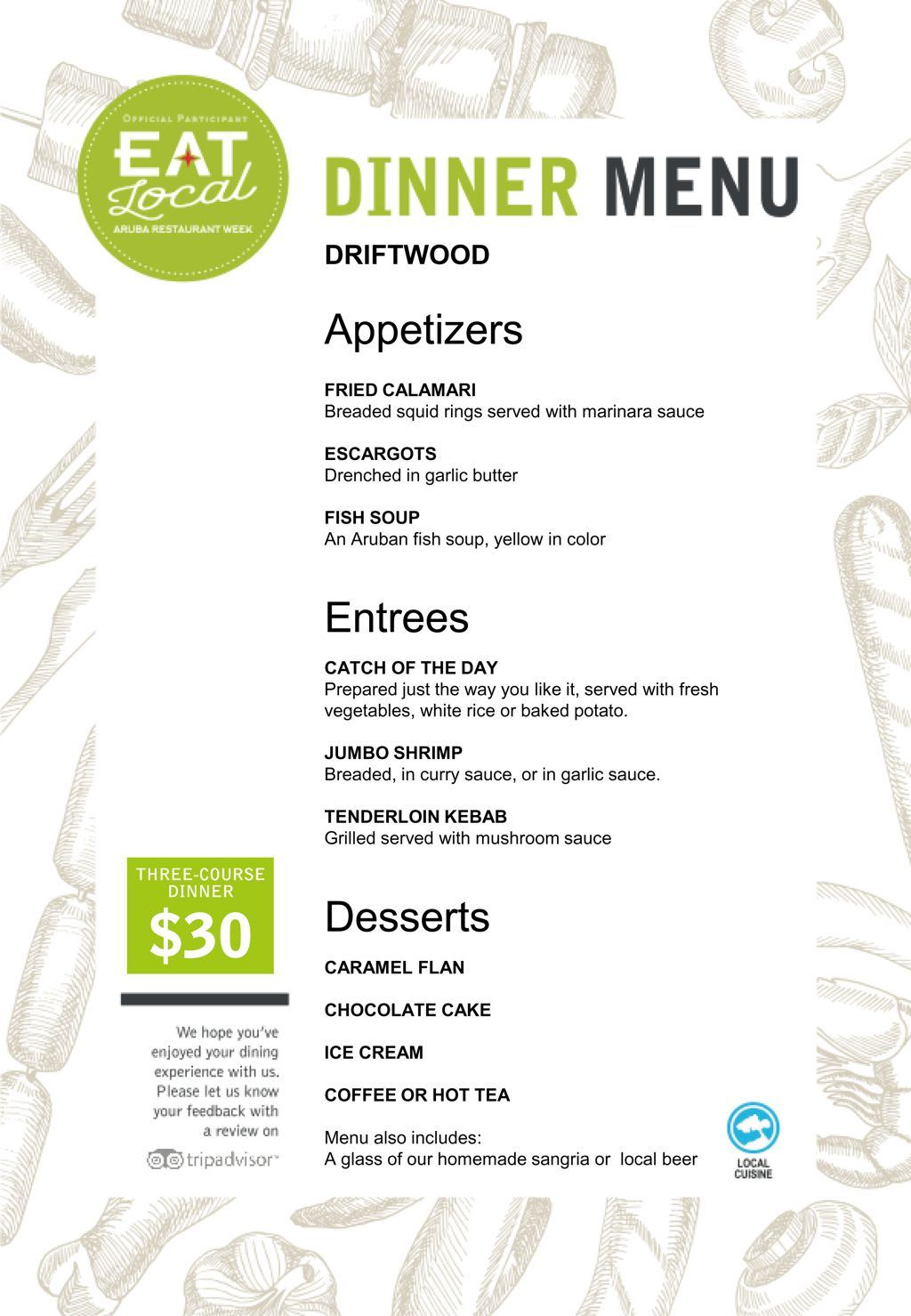 Driftwood Restaurant - Eat Local 2017
