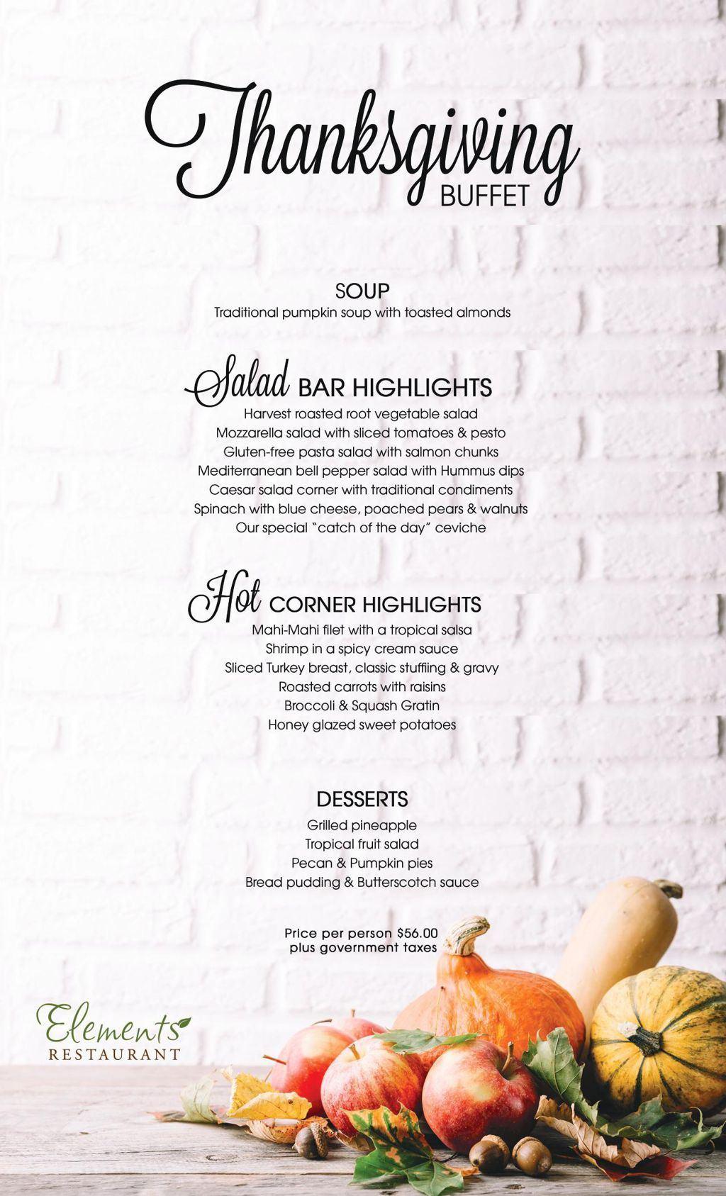 Elements Restaurant Thanksgiving Buffet