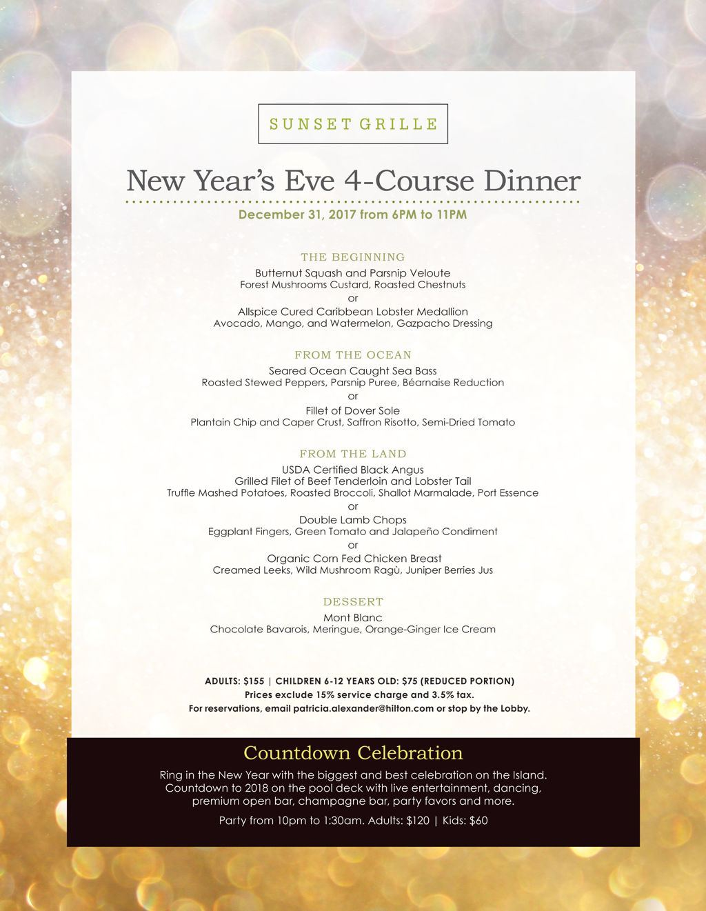 Sizzle into the New Year with Dinner at Sunset Grille!