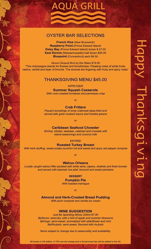 Aqua Grill's Thanksgiving Dinner