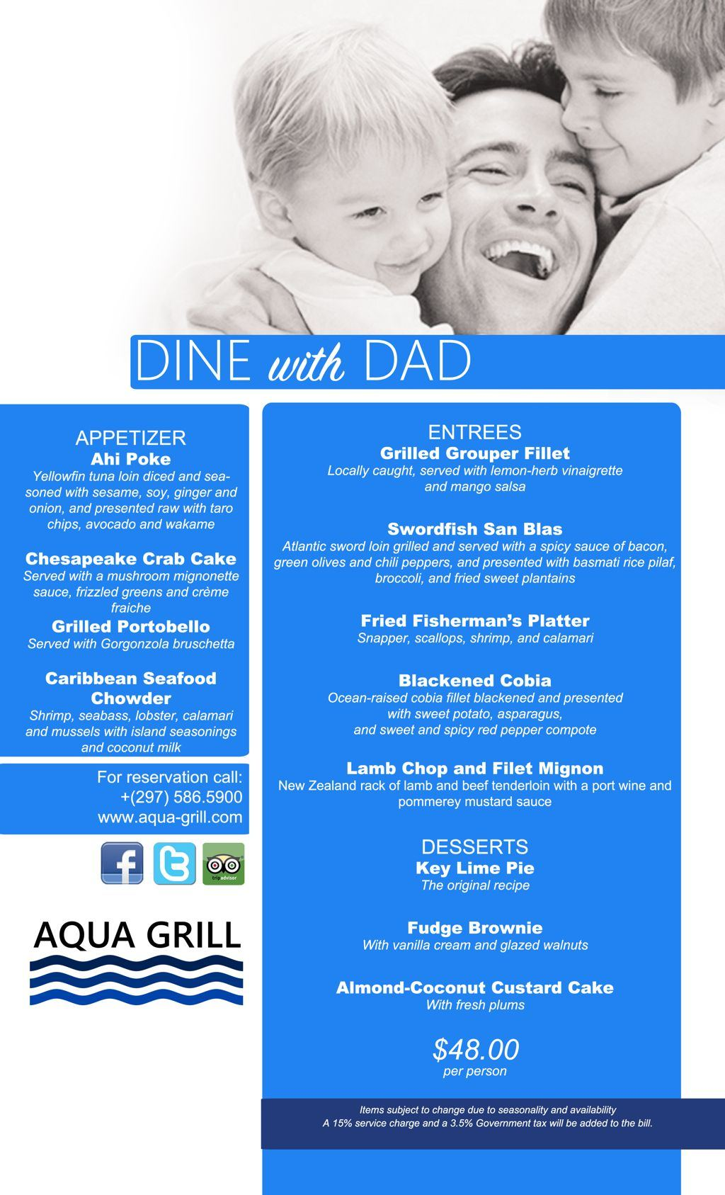 Dine with Dad at Aqua Grill