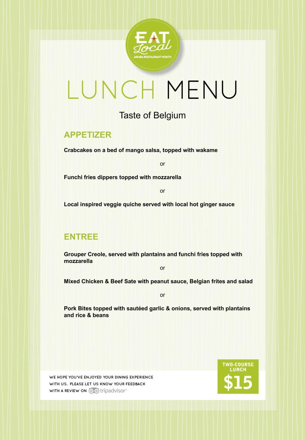 Taste of Belgium Lunch - Eat Local 2018
