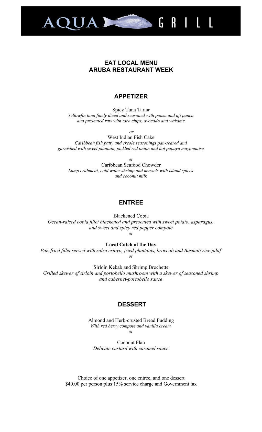 Aqua Grill Restaurant - Eat Local 2018