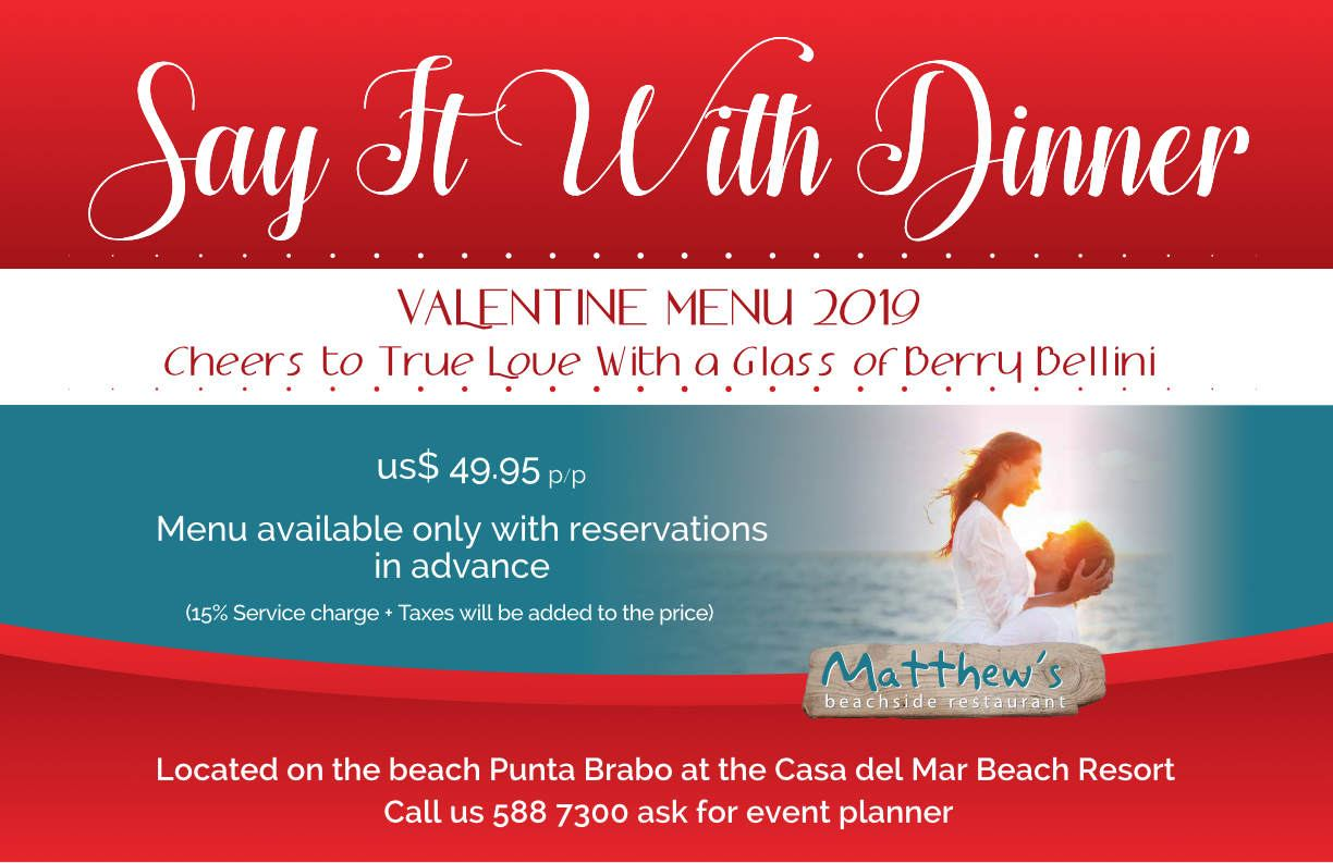 Say it with Dinner Valentine's Menu at Matthews