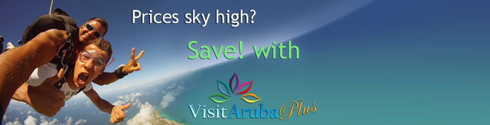 VisitAruba Plus Discount Card Image. The image shows a sky Diver. The text on image states; Prices sky high? Save with VisitAruba Plus Discount Card